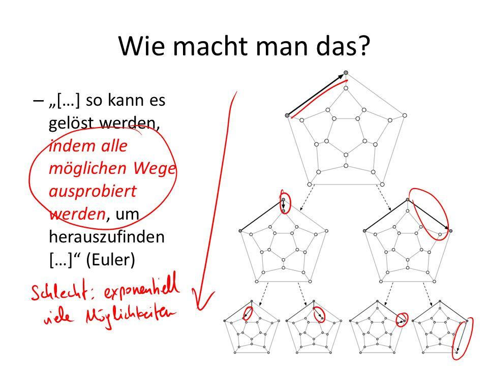 """Wie macht man das """"[…] so kann es gelöst werden, indem alle möglichen Wege ausprobiert werden, um herauszufinden […] (Euler)"""